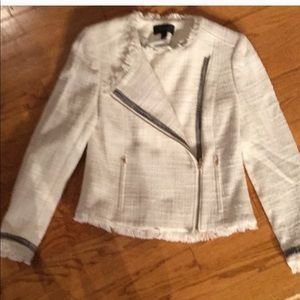 Jcrew barely worn white zip front jacket size 2